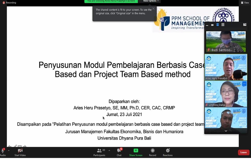 Workshop Problem Based Learning Prodi Manajemen.